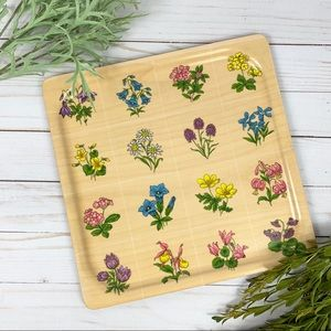 Other - Floral Faux Wood Tone Melamine Decorative Tray